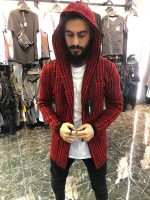 Men's red long hoodie jacket sweater all sizes small medium large XL store pick up or shipment is available for Sale in Los Angeles, CA