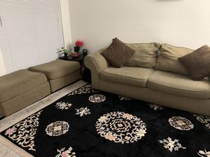 Sofa with two ottomans , one end table and one big living room rug for Sale in Hilliard, OH