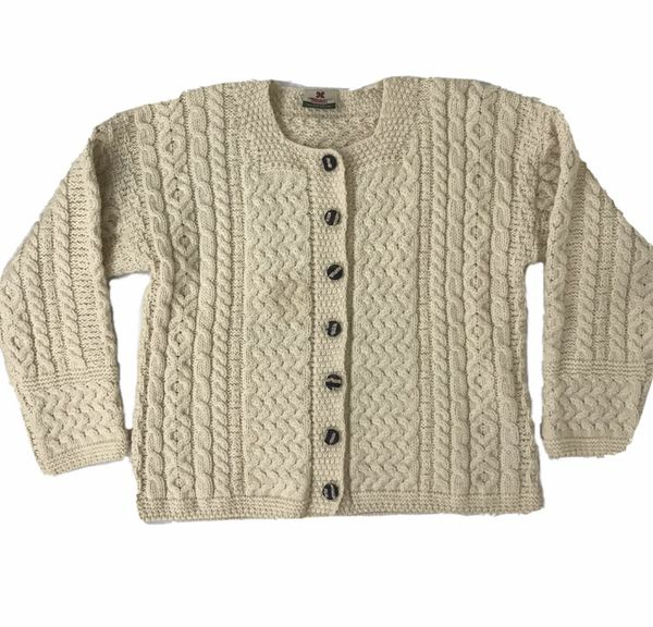 Carraig Donn Cable Knit Cream Wool Cardigan Sweater - Size S