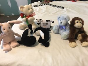 Assorted stuffed animals moveable blue angel bear monkey chick fil a cow rabbit whales 7 total for Sale in Taylors, SC