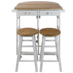 Casual Home White Breakfast Cart with Drop-Leaf Table for Sale in New York, NY