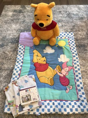 Stuffed 20 inch Pooh and crib set for Sale in Newport Beach, CA