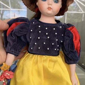 "14"" tall vintage doll toy in dark blue yellow dress , in good condition for Sale in Hobe Sound, FL"