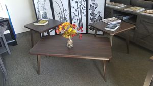 Ashley Furniture 3 Piece Coffee Table and End Table Set, Dark Brown for Sale in Santa Ana, CA