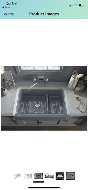 KOHLER Whitehaven Farmhouse Smart Divide Self-Trimming Undermount Apron Front Double-Bowl Kitchen Sink with Tall Apron, 35-1/2-Inch x 21-9/16-Inch, D for Sale in Union, NJ