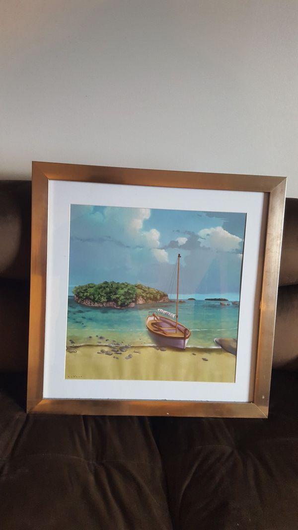Framed Island Painting