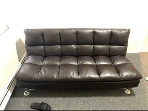 Black Leather Futon for Sale in Chicago, IL