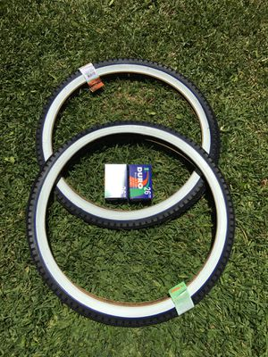 NEW Duro 26x2.125 Beach Cruiser Bike Bicycle Tires Whitewall w/ Blue Line DIAMOND for Sale in West Covina, CA