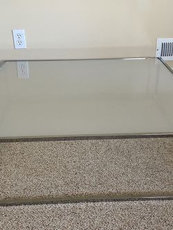 "Glass Aluminum Low Standing Coffee Table 35""x35""x10.5"" Side Stainless Steel MCM vintage mid century for Sale in Milwaukie,  OR"