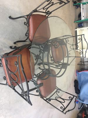 Bombay Glass Table and leather chair Kitchen Set for Sale in Alpharetta, GA