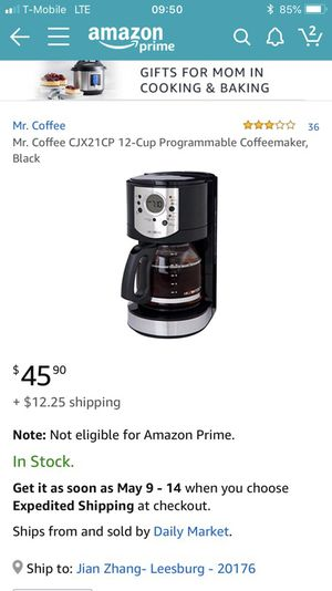 Mr. coffee programmable coffees maker, Good condition for Sale in Leesburg, VA