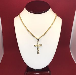 14 K Gold Cuban Link with 14 K Gold Crucifix Pendant Charm for Sale in Hialeah, FL