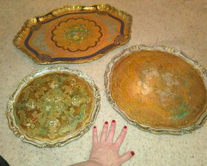 3 Antique Italian Hand Painted Wooden Florentine Trays for Sale in Phoenix, AZ