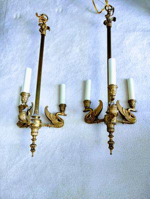 Two Swan brass Chandelier for Sale in West Palm Beach, FL