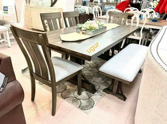 In Stock 🎄 Grayish Brown Rectangular Dining Set byCrown Mark 🎄 6-Piece (Table+4 Chairs+Bench) for Sale in New Castle,  DE