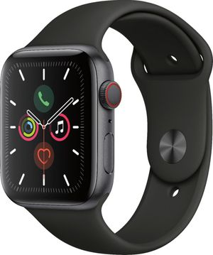 Apple Watch Series 5 (GPS + Cellular) 44mm Space Gray Aluminum Case with Black Sport Band for Sale in Fairfax, VA