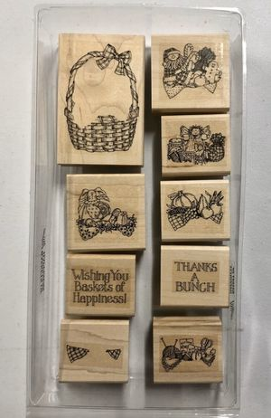 """Retired 1996 Stampin' Up! Wood Mounted Rubber """"Basket Of Happiness"""" Stamp Set for Sale in Rives Junction, MI"""