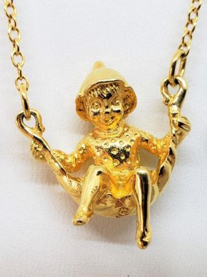 Vintage 1980s Happy Elf necklace, Franklin Mint 24K Gold Electroplated spirit fairy pendant, good luck charm. 18 in. Pendant is 1 in by 1 in. for Sale in Largo, FL