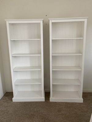 (2) 6' White Bookcases with beadboard backing for Sale in Oceanside, CA