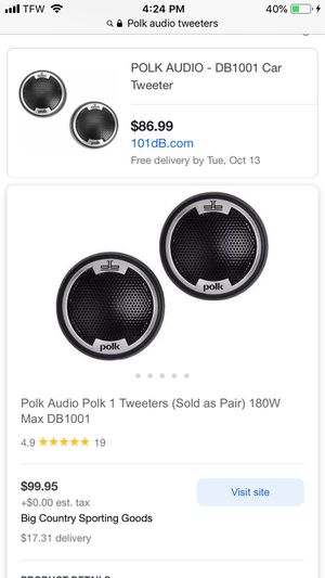 I have a pair of Polk audio tweeters Used 50 bucks for Sale in Chicago Heights, IL
