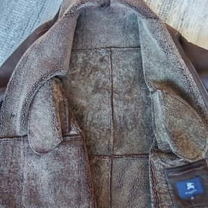 Burberry sheepskin soft suede coat jacket beautiful large for Sale in Chicago, IL