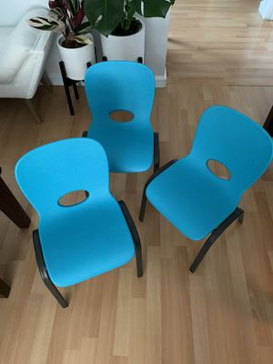Kid chairs sturdy plastic and stackable for Sale in Colma, CA