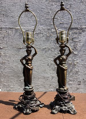 roman female figurine bronze color lamps for Sale in Beverly Hills, CA
