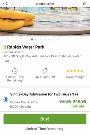 2 Rapids water park tickets 25$ for Sale in West Palm Beach, FL