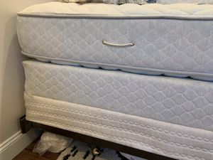 2 twin bed mattress with box spring and bed frame . Brand new . Hardly used was part of guest room , excellent for grown up kids and college student for Sale in Newtonville, NY