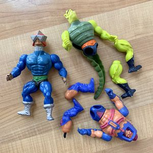 Vintage MOTU Action Figure Toy Lot Of Three Figures - Whiplash, Meckaneck And Man-E-Faces For Parts, Repair Or Customs for Sale in Elizabethtown, PA