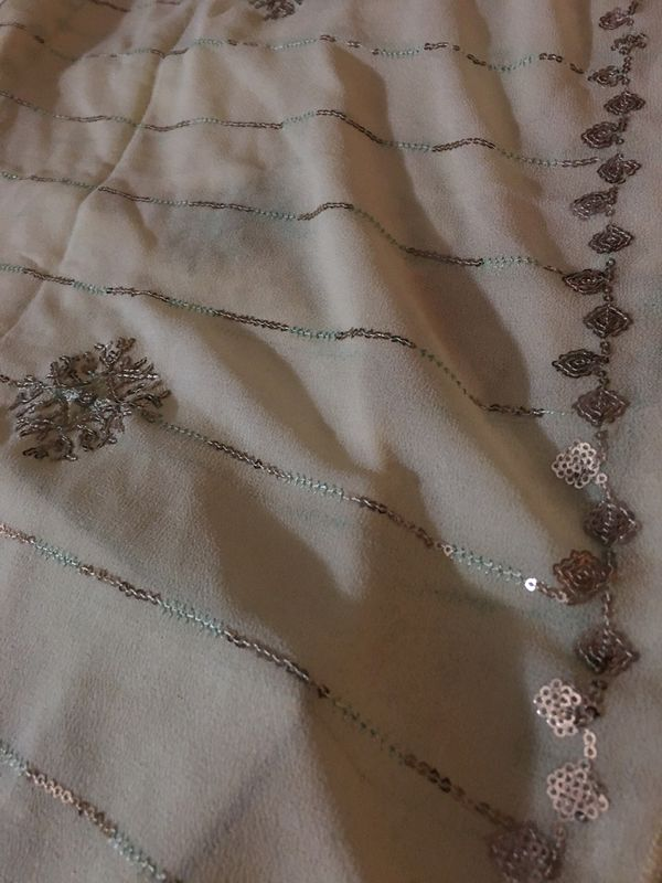 Creamy color Long Scarf with sparkles shining.