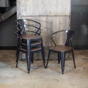 New in box $35 each metal steel caristle chair black available with wooden top stackable for Sale in Los Angeles, CA