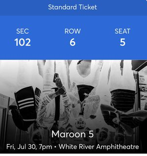 Maroon 5 July 31st 2021 for Sale in Bothell, WA