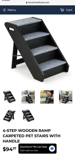 4-STEP WOODEN RAMP CARPETED PET STAIRS WITH HANDLE for Sale in Riverside, CA