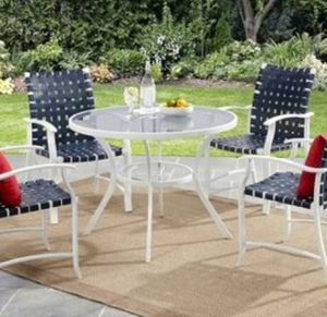 New!! Patio set, patio dinning set, round table outdoor 5 pc dinning set, outdoor conversation set, chat set, patio furniture , white for Sale in Phoenix, AZ