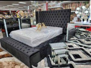 📣Black Friday Sale~In stock🔅Velvet black Storage platform queen bed. for Sale in West Laurel, MD