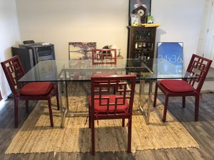Modern Asian inspired dining table and six chairs for Sale in Prineville, OR