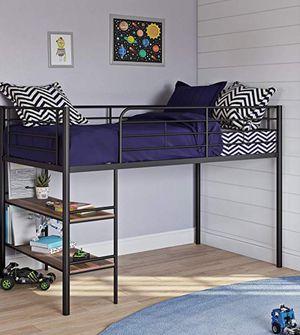 New!! Bed, twin bed, twin loft bed , metal storage twin loft bed w bookcase shelves, metal twin loft bed, bedroom furniture, black for Sale in Phoenix, AZ