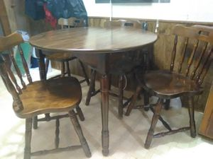 Solid wood dining table and 4 chairs with leaf for Sale in Versailles, MO