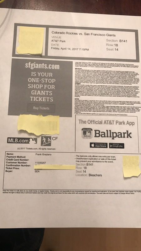 1 ticket to Fridays SF Giants game 4/14/17