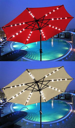 New in box $50 each 9' FT Outdoor Patio Umbrella with Solar Powered LED Light Tilt Crank (3 Colors) for Sale in Downey, CA