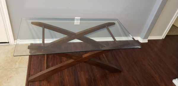 Glass and wood coffee table
