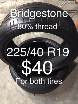2 Bridgestone tires 225/40 R19 for Sale in Hayward, CA