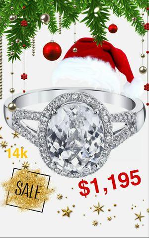 14k Size 6 INCREIBLE Anillo de Oro Solido con Shapphire y 60 Diamantes Genuinos 😮 / White Gold Sapphire & Genuine Diamonds Ring! AMAZING 💍🎁🎄😊 for Sale in Santa Fe Springs, CA