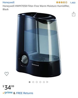 Honeywell HWM705B Filter-Free Warm Moisture Humidifier, Black for Sale in Los Angeles, CA