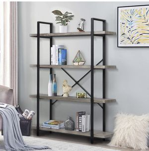 4-Tier, 130lbs/shelf Load Capacity, Industrial Bookshelves Storage Display Shelves, Home Office Furniture, Wood and Metal Frame( Gray for Sale in Ontario, CA