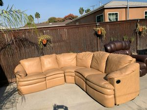 FREE Sectional Couch with 3 recliners & a solo brown leather recliner for Sale in Whittier, CA