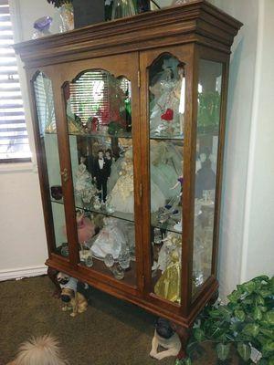Antique hutch oak claw feet mirror in back key glass shelves for Sale in Las Vegas, NV
