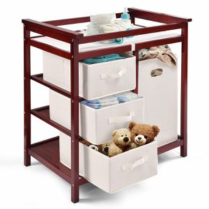 Cherry Infant Baby Changing Table w/3 Basket Hamper Diaper Storage Nursery for Sale in Los Angeles, CA