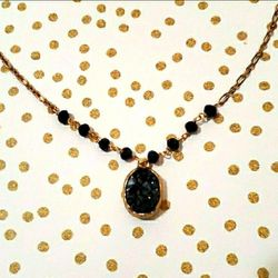 Black Druzzy & gold necklace for Sale in Rockville,  MD